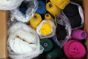 Ruthie's Challenge: Weave a Tapestry with this box of wood yarn.